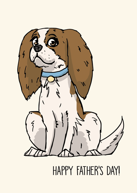 Cavalier spaniel father's day card by Mon Petit Chien