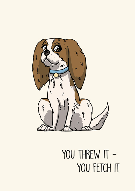 Cavalier king charles spaniel funny greeting card by Mon Petit Chien
