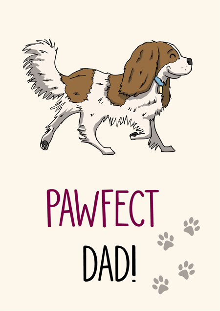 Pawfect dad cavalier king charles spaniel father's day card by Mon Petit Chien