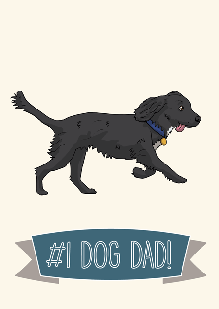 #1 dog dad father's day card for cocker spaniel fans by Mon Petit Chien