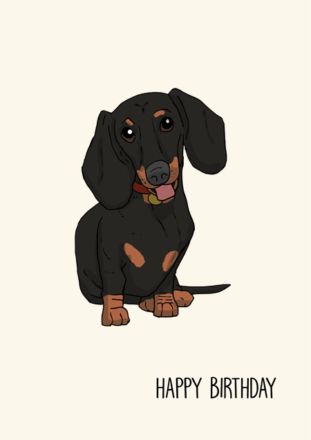 Dachshund happy birthday greeting card by Mon Petit Chien