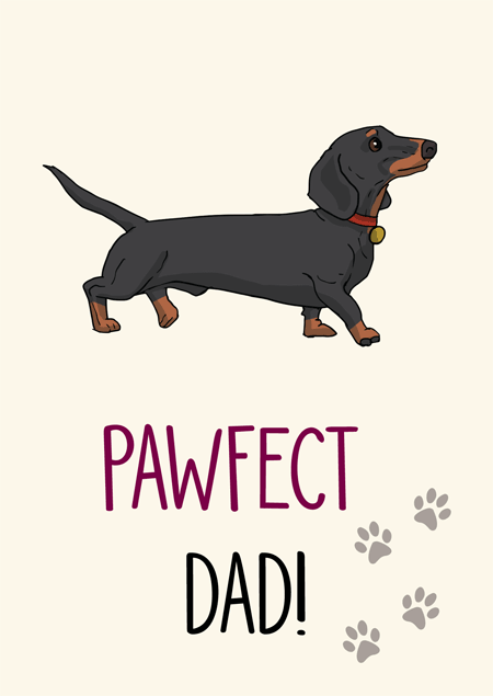 Pawfect dad dachshund father's day card by Mon Petit Chien