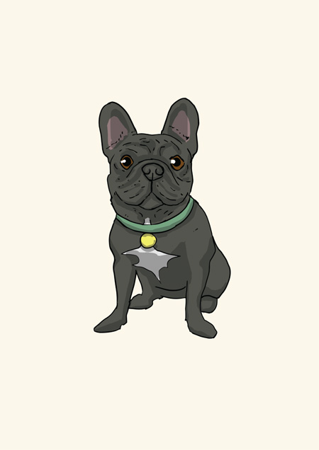 Frenchie blank greeting card by Mon Petit Chien