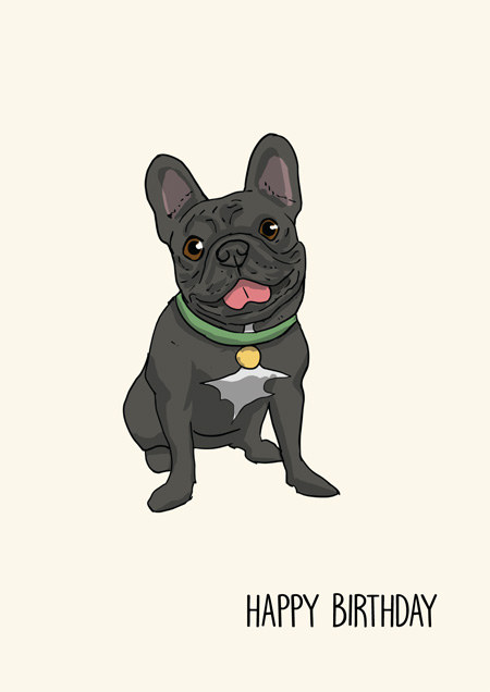 French bulldog happy birthday greeting card by Mon Petit Chien