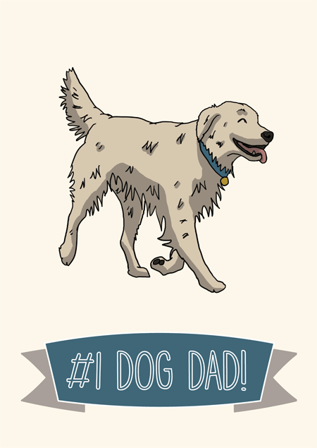 #1 dog dad father's day card for golden retriever fans by Mon Petit Chien