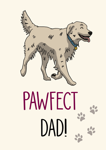 Pawfect dad golden retriever father's day card by Mon Petit Chien