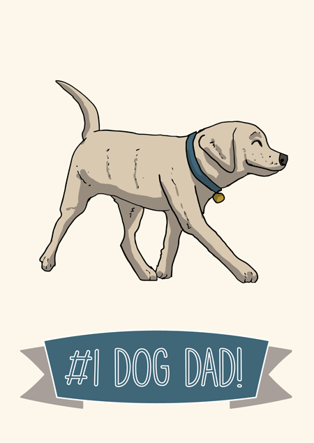 1 Dog Dad Fathers Day Card For Labrador Fans By Mon Petit Chien