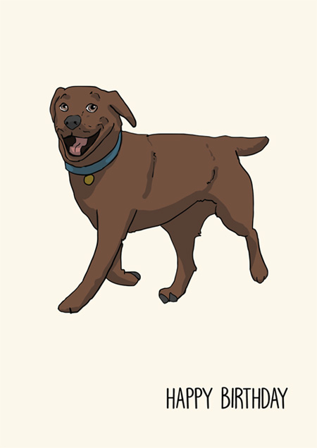 Chocolate labrador happy birthday greeting card by Mon Petit Chien