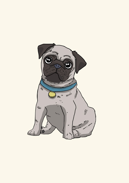 Pug blank greeting card by Mon Petit Chien