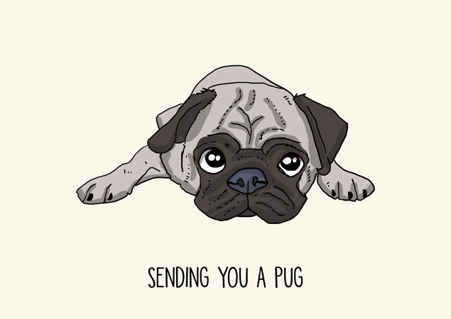 Sending you a pug. Funny and sweet pug greeting card by Mon Petit Chien