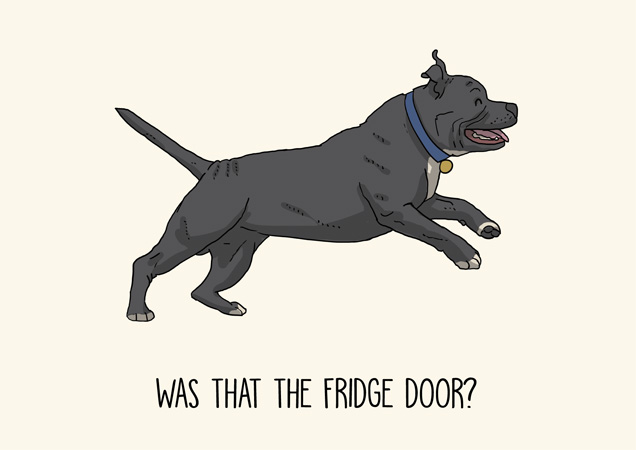 Staffordshire bull terrier funny greeting card by Mon Petit Chien