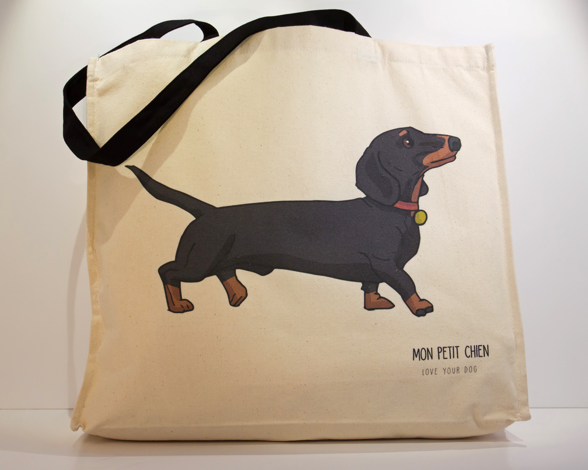 Dachshund long handled shopping bag by Mon Petit Chien