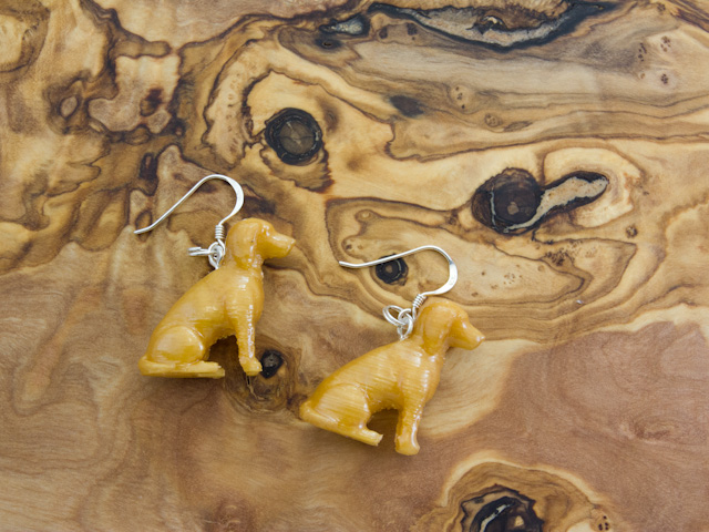 Spaniel earrings in golden PLA 3d printed by Mon Petit Chien