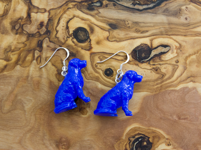 Golden retriever earrings in blue