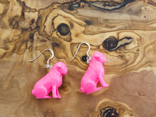 Pink pug 3d earrings