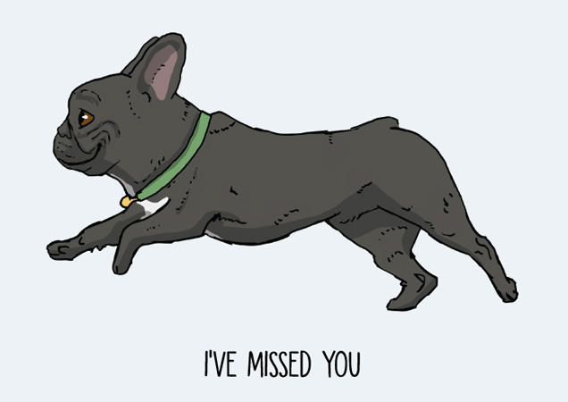 I've missed you! French Bulldog postcard by Mon Petit Chien