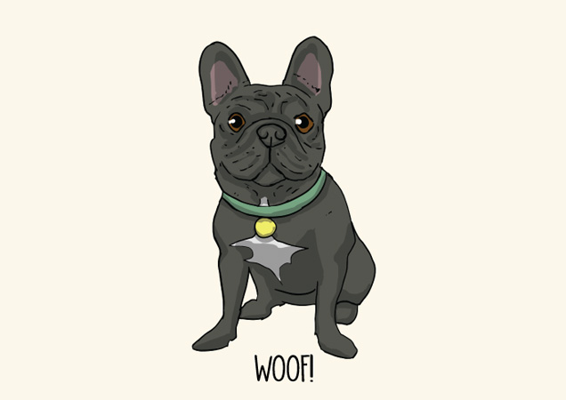 Woof! Frenchie postcard by Mon Petit Chien