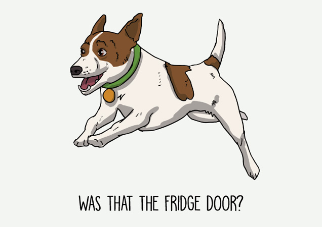 Was that the fridge door? Funny Jack Russell postcard by Mon Petit Chien