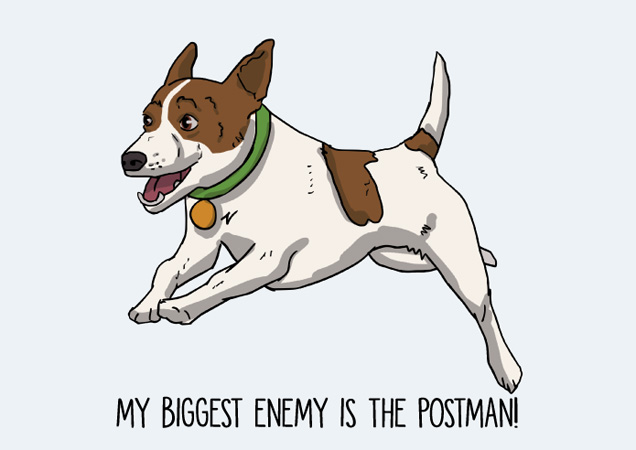 The postman is my enemy! Funny Jack Russell postcard by Mon Petit Chien