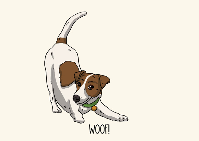 Woof! Jack Russell postcard by Mon Petit Chien